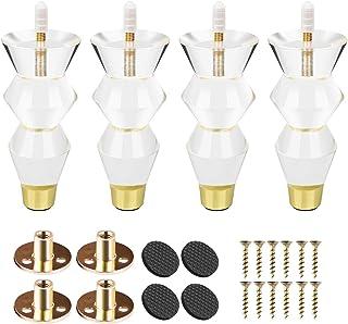 Btowin - Patas de acrílico para muebles 4 piezas de cristal transparente con rosca M8 de 5/16 pulgadas base de latón y...