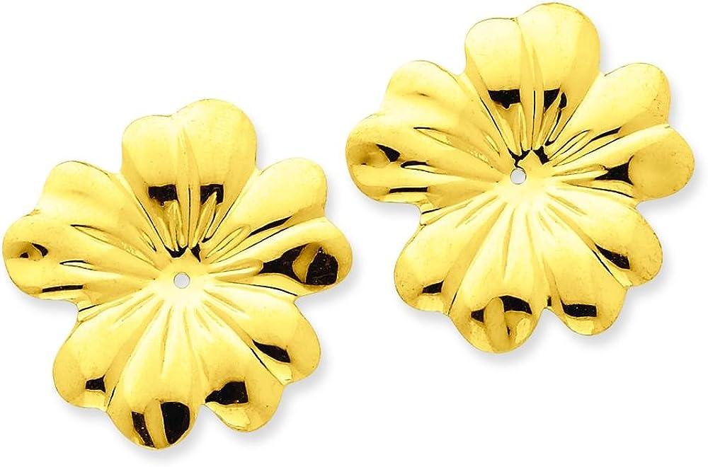 14K Yellow Gold Flower Earring Jackets Jewelry