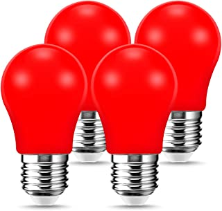LOHAS A15 Red LED Light Bulb, Decoration 20W Equivalent Bulb, 3W Colorful LED Bulb, Halloween Indoor Home Lighting with E26 Medium Base Bulb, 250LM Red Light Bulb for Porch, Holiday, Party, 4 Pack
