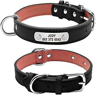 QETUOA Durable And Personalized Dog Collar Pu Leather Padded Pet Id Collar, Specially Designed For Small And Medium-Sized ...