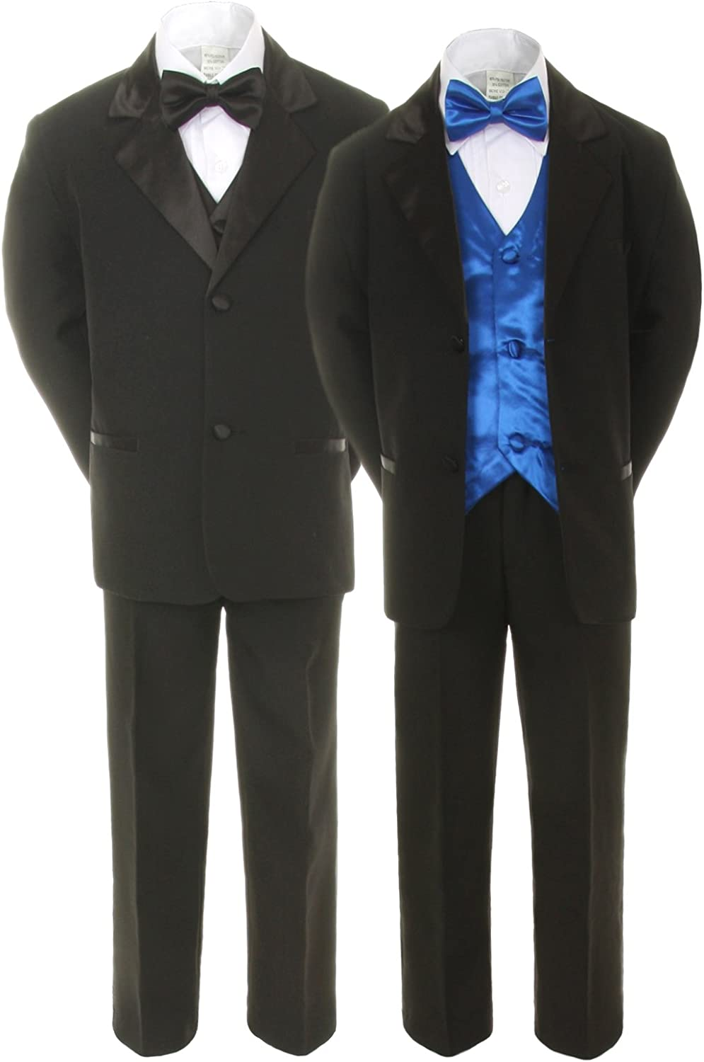 Unotux 7pc Boys Black Suits Tuxedo with Royal Al sold out. Bow Blue Max 55% OFF Satin Tie