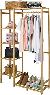 Bamboo Wood Clothing Garment Rack with Shelves Clothes Drying Hanging Rack Plant Stand for Long Jacket Trousers Shoe and Coat Storage in Home Laundry Room Commercial Corner (Heavy Duty)