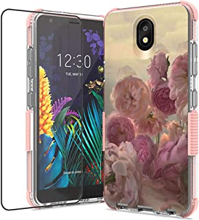 WZOKA for lg K30 2019 Case, lg Escape Plus Case, lg Arena 2 Case, with Tempered Glass Screen Protector, Shockproof TPU Case (Pink)