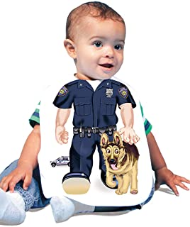 Just Add A Kid Baby Boy's Policeman K9 947 Baby Bib 0-6 Months White