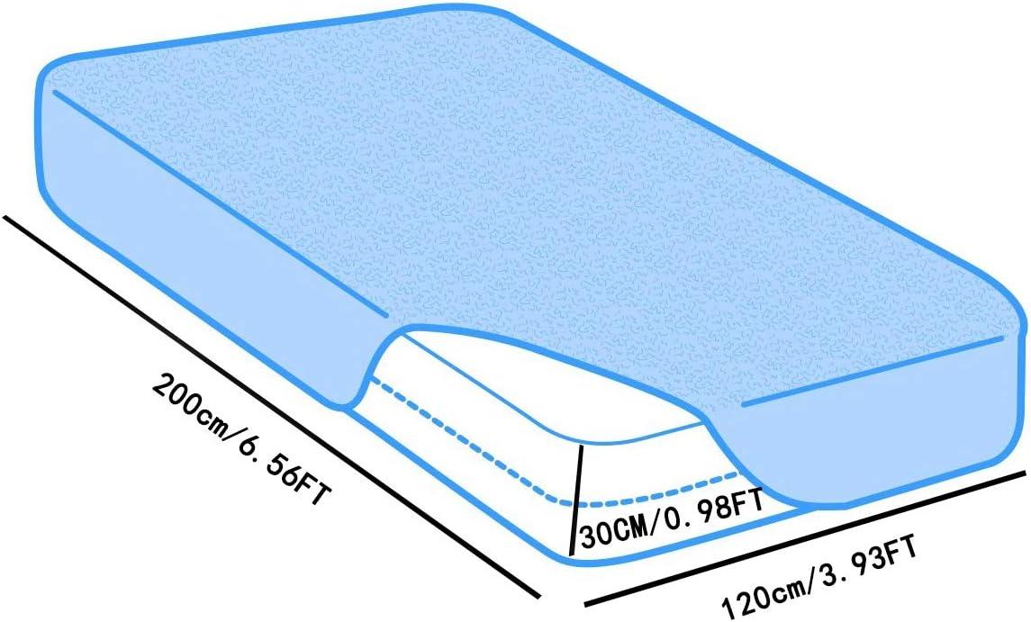 HJGHY Protecteur de Matelas imperméable Couvre-Matelas imperméable Couvre-lit d'incontinence, Respirant, Housse de surmatelas équipée de Protection de Matelas,200x220cm 120x200cm