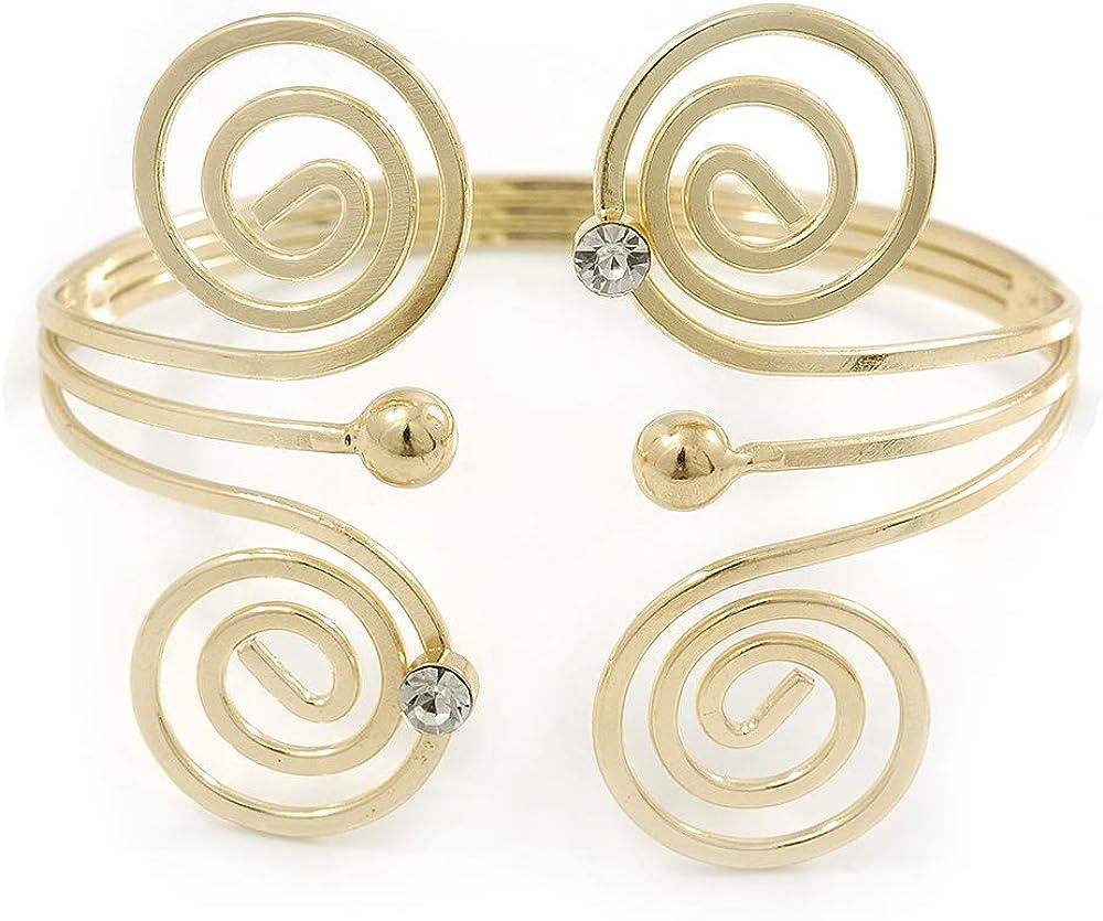 Avalaya Greek Style Swirl Upper Arm, Armlet Bracelet in Gold Plating - 27cm L - Adjustable