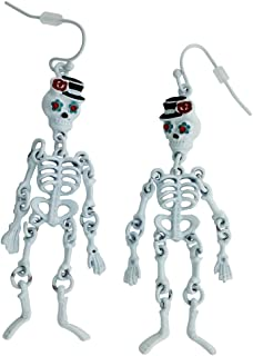 Halloween Party Skeleton Drop Dangle Earrings White with Red Eyes | Cool Halloween Holiday Gift Jewelry