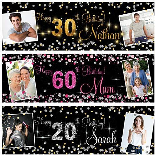 Pancarta de cumpleaños personalizable, para exteriores, con foto de plata, oro, rosa, fiesta, boda, 18, 21, 30, 40, 50, 60, 70