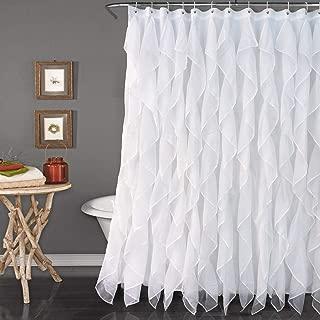 Reisen White Ruffle Shower Curtain Fabric/Cloth Farmhouse Bathroom Sheer Shower Curtain, 72in Long