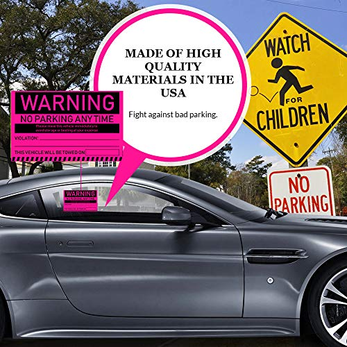 """No Parking Violation Stickers Hard to Remove (Pink) 10-Pack Towing Tags for Illegally Parked Vehicles in Your Lot - Super Sticky Car Permit Notices for Bad or Careless Parking 8"""" x 5"""" by MESS Photo #8"""