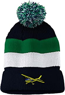 85727a1a025 High-Wing Embroidered Vintage Striped Removable Pom Pom Beanie
