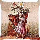 ooPIN Funda de cojín, diseño Retro de Hada y ángel, con Cremallera en Ambos Lados, 16 x...