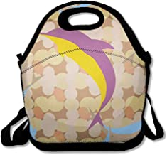Reusable Lunch Bag for Men Women Smiling Aqua Flock Dolphins Under Water Aquarium Batik Bright Computing Cute Design Playful Insulated Lunch Tote for Travel Office School