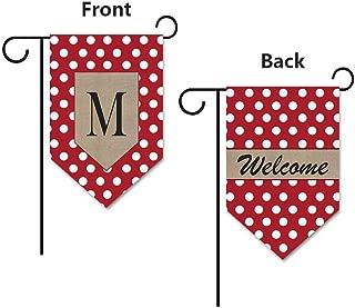KafePross Dots Letter and Welcome Garden Flag Monogram M 12.5x18 Print Both Sides