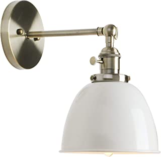 Permo 6.3-Inch Metal Dome Shade Industrial Wall Sconce Lighting Fixture (White)