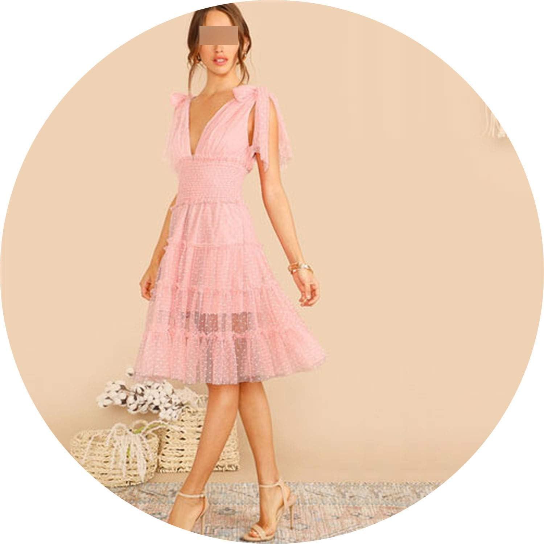 White Island Shoulder Knot Plunging Neck Mesh Lace Dress Women Romantic Sleeveless Deep V Neck Midi Dress A Line Summer Dress