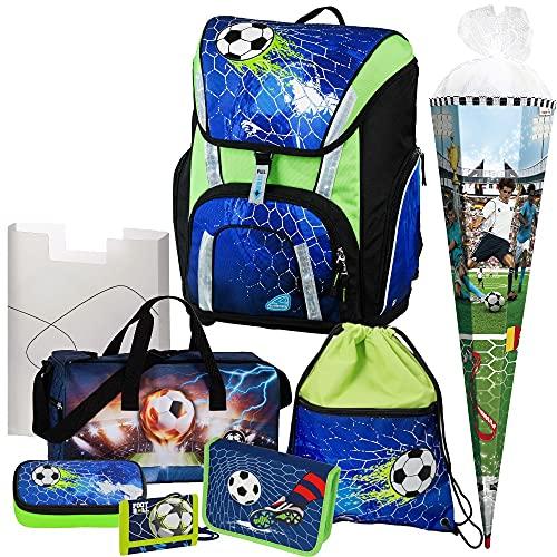 Soccer Champ - Football Fußball - Schulranzen-Set TOOLBAG SMART -78321-070 Schneiders 8tlg. mit FEDERMAPPE, SPORTTASCHE, BRUSTBEUTEL und SCHULTÜTE