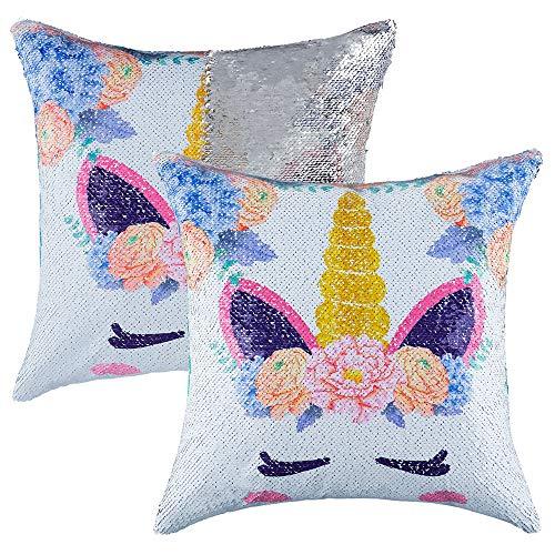 Funda de cojín reversible con lentejuelas y lentejuelas, para niños, niñas y niños, con purpurina, para sofá, cama, sofá decorativo de 16 x 16 pulgadas, Bonito unicornio plateado., 40 x 40 Centimeters