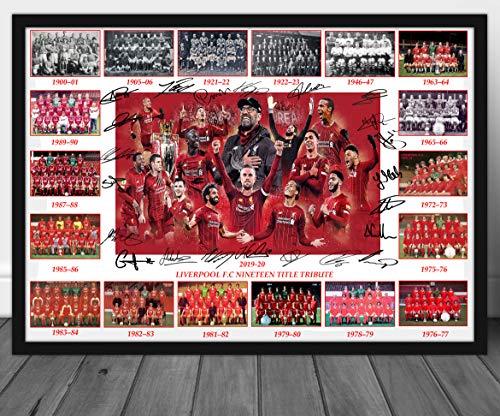 Liverpool FC Premier League Champions 19 Jahre Tribute signierter Druck A4