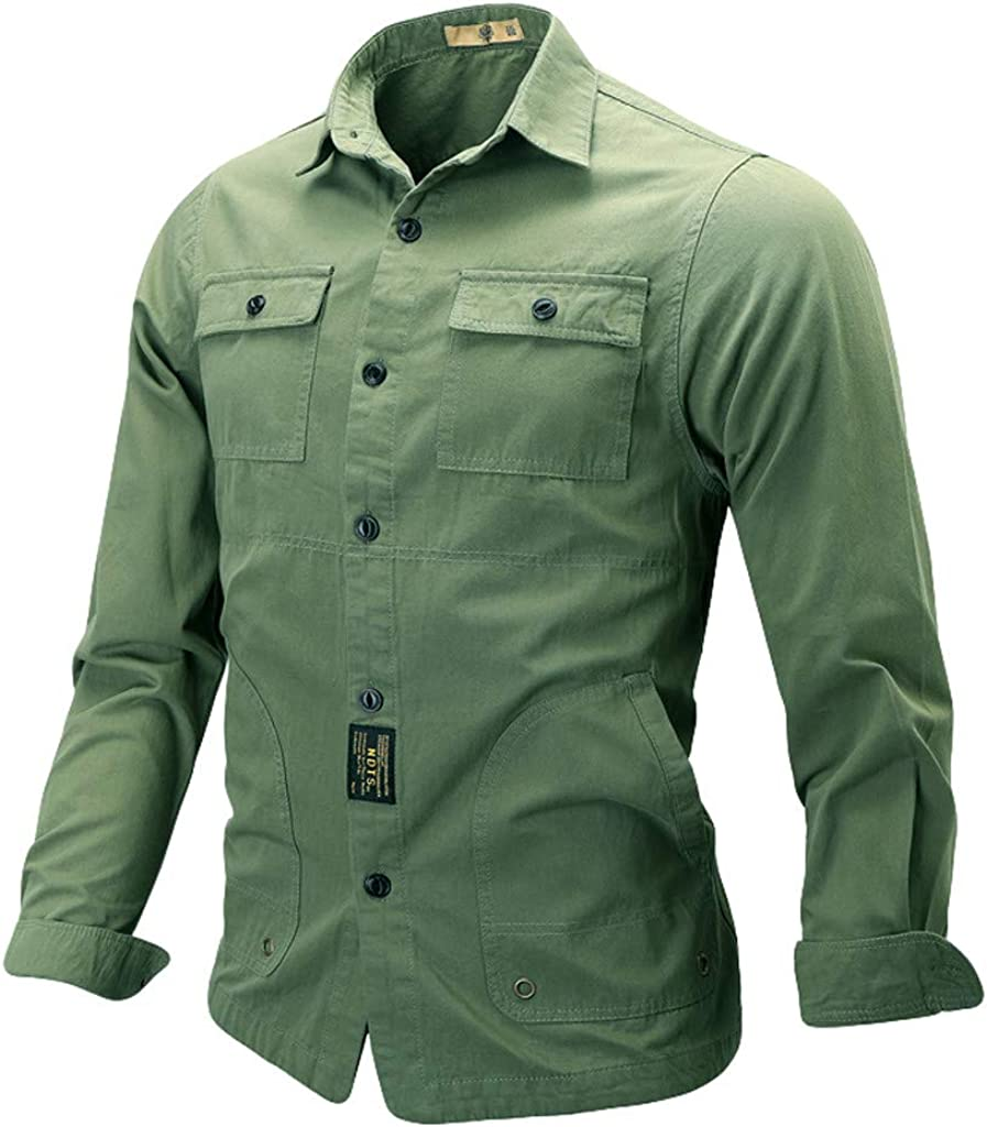 MODOQO Men's Slim Fit Solid Button Down Dress Shirt with Pocket