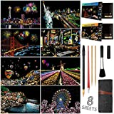 Scratch Art for Adults Kids, Rainbow Painting Night View Scratchboard(A4), Crafts Set: 8 Sheets Scratch Cards with 6 tools in Bag - New York, Statue of Liberty, Cinque Terre, Seattle(America / Europe)