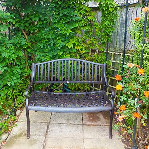 Lazy Susan Furniture – Grace Metall Gartenbank Antique Bronze (kein Kissen) - 4