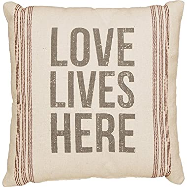 Primitives by Kathy Vintage Flour Sack Style Love Lives Here Throw Pillow, 15-Inch Square
