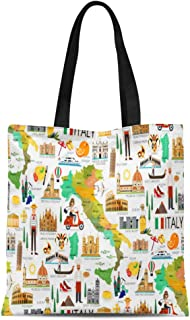 Semtomn Canvas Tote Bag Sicily Map of Italy and Travel Wine Italian Europe Durable Reusable Shopping Shoulder Grocery Bag