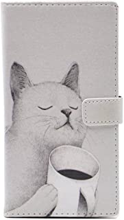 TPACC Galaxy S8 Case - Unique Coffee Cat Pattern Slim Wallet Cash Card Flip Stand Leather Case Cover for Samsung Galaxy S8 Cool as Great Gift
