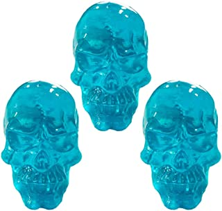 Decorative Kids Room Skull Transparent Resin Knobs Pull for Cabinet Dresser Drawers, Angry Face,3 Pcs Blue