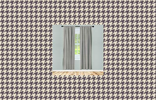 """Lunarable Vintage Curtains, Traditional Scottish Houndstooth Pattern in Pastel Colors Tartan Plaid Retro, Window Treatments 2 Panel Set for Living Room Bedroom Decor, 56"""" x 84"""", Brown Umber"""