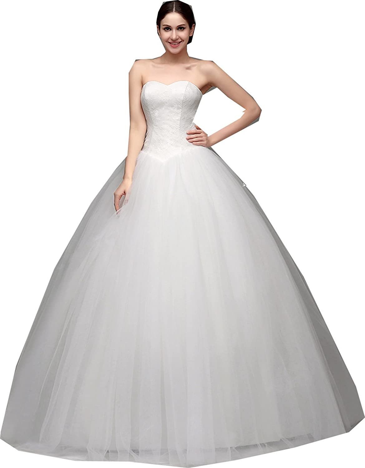 EieenDor Women's Sweetheart Tulle Wedding Dresses Simple Bridal Dress Elegant Ball Gown White