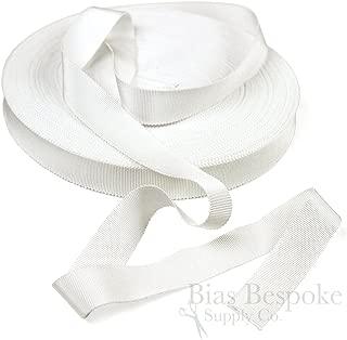 3 Yards of Vera 1'' Cotton & Viscose Petersham Grosgrain Ribbon, White, Made in Italy