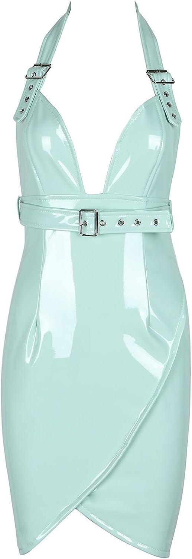 Bqueen Women's Sexy Clubwear Bodycon Halter PU Leather Dress BQ1BH5382