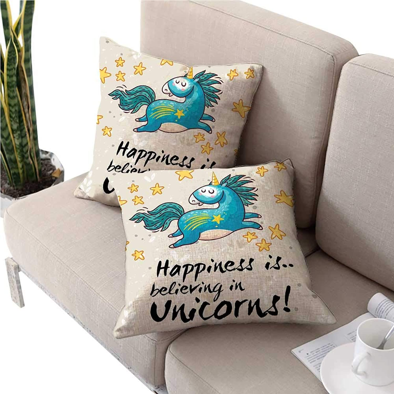 Warmfamily Unicorn Home and Kids Decorcouch Pillow coversBelieving Unicorns Quote Illustration with Star ElementsSquare Cushion Case 28 x28  2 Pcs bluee Yellow