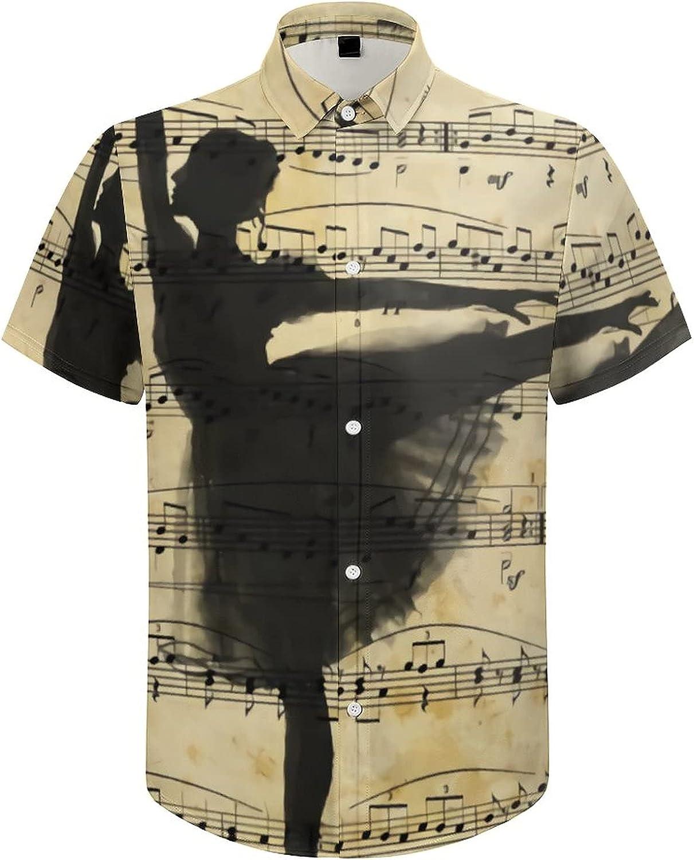 Hawaiian Shirts for Men Ballet Music Note Dance Printed Beach Shirt Hawaiian Shirts