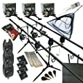 Full Carp fishing Set Up Complete With 3 x Rods Reels Alarms Landing Net Bait Tackle from redwood