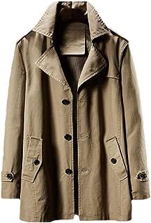 Men Winter Slim Fit Lapel Single Breasted Long Sleeve Casual Trench Coat Overcoat Outwear