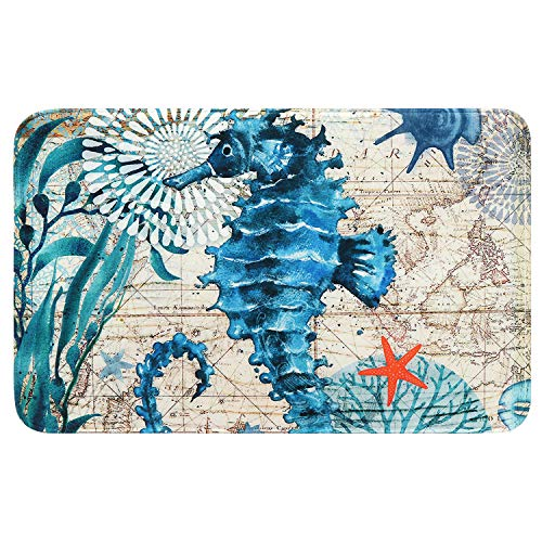 Uphome Sea Horse Foam Bathroom Rugs Vintage Summer Ocean Collection Nautical Map Bath Mat Soft Absorbent Non-Slip Flannel Bath Rug Shower Floor Carpet, 16x24