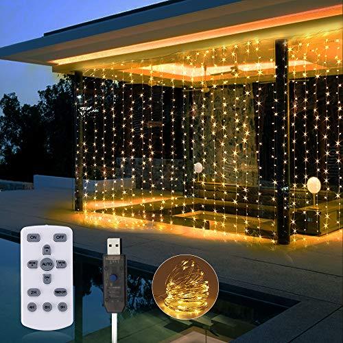 LED Lichtervorhang 3x3M, SOLMORE USB Led Lichterkette IP65 Wasserdicht mit Fernbedienung, Lichterkettenvorhang mit 8 Lichtmodi, Timer, Dimmbar für Weihnachten Zimmer und Außen Deko Warmweiß - 300LEDs