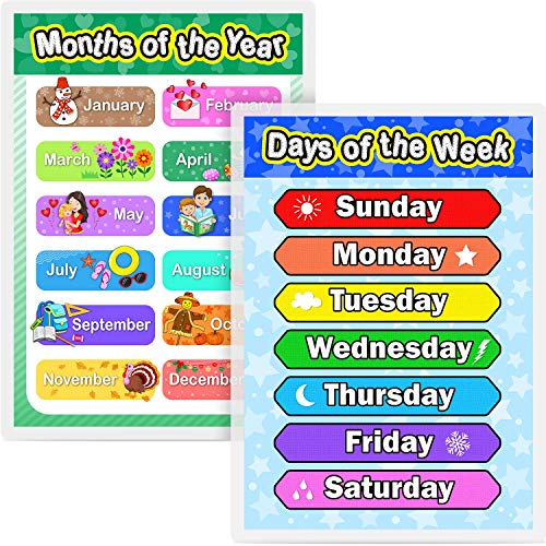 Laminated Preschool Poster for Toddlers and Kids, 2 Pieces Full Laminated Posters Days of the Week and Months of the Year for Nursery Homeschool Kindergarten Classroom, 16.9 x 11.9 Inch