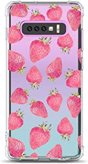 Oihxse Shockproof Case Compatible for Galaxy Note 9 Clear Back with Design, Soft Silicone TPU Ultra Thin Slim Fit Chic [Air Cushion] Corners Protection Crystal Transparent Cover(Strawberries)