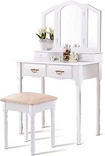 Vanity Set, WATERJOY Tri-Folding Mirror Makeup Vanity Table Set with Cushioned Stool Mirror Table Set Home Furniture 4 Drawer (White)