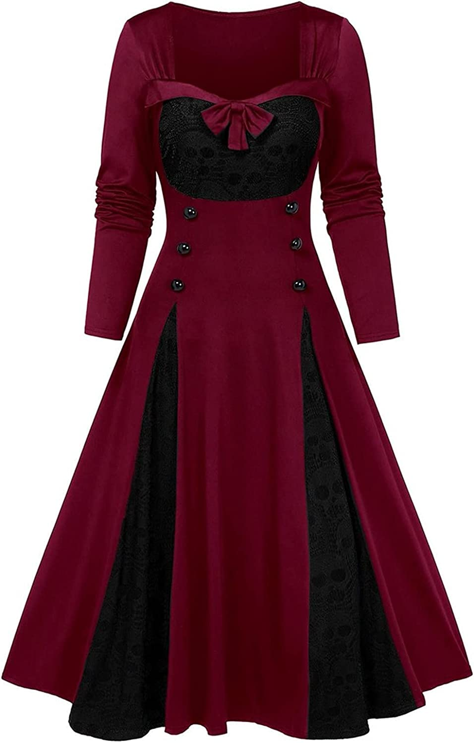 Womens Maxi Dress Fashion Gothic Vintage Plus-Size Formal Dress Halloween Long Sleeve Evening Party Dress