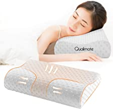 "Qualimate Memory Foam Pillow Cervical Pillow for Neck Pain Orthopedic Contour Medical Pillow Support for Back, Stomach, Side Sleepers, Anti-Snoring Relief Neck Pillow, Anti-Allergy, Pillow for Pain Relief - 20""x 11.5"" x 3.5"", White"