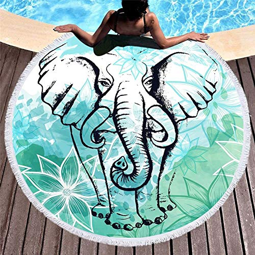 Toalla De Playa Redonda,Retro Elefante Verde Impreso Ligero Microfibra Borla Toalla, Toalla De Natación Compacta Toalla Seca Rápida Super Absorbente Para Piscina De Playa Camping Fitness Yoga,150 *