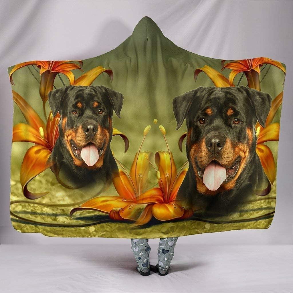 Latest item Cute Rottweiler Dog Blanket Hooded Max 68% OFF Print
