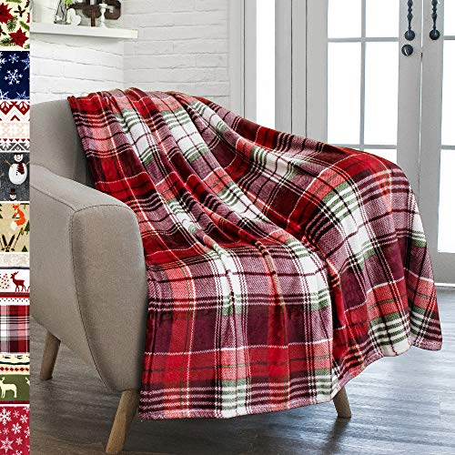 PAVILIA Christmas Throw Blanket | Holiday Christmas Red Fleece Blanket | Soft, Plush, Warm Winter Cabin Throw, 50x60 (Red Green Plaid)