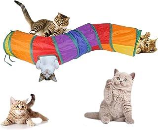 yiteng 猫 キャットトンネル S型 1通 3穴 ペット用品 折りたたみ式 お留守番に スパイラル プレイトン ネル おもちゃストレス解消 収納便利 面白い 猫遊び 猫のトンネル 水洗い可能 子犬 うさぎ 小動物 (カラフル1)