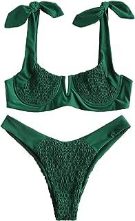 ZAFUL Women's Smocked Bowknot Shoulder Underwire V Cut Bikini Set Two Piece Shirred Swimsuit Swimwear